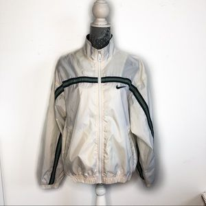 Nike Jacket White Green Nylon Windbreaker Rain